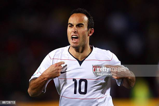 Landon Donovan of USA celebrates scoring his team's second goal during the FIFA Confederations Cup Final between USA and Brazil at the Ellis Park...