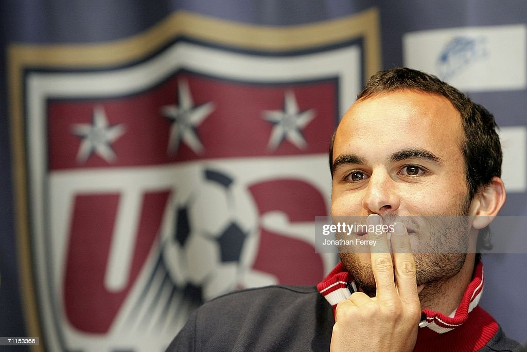 <a gi-track='captionPersonalityLinkClicked' href=/galleries/search?phrase=Landon+Donovan&family=editorial&specificpeople=171601 ng-click='$event.stopPropagation()'>Landon Donovan</a> smiles during a press conference for the United States National Team at on June 8th, 2006 at the Grand Hyatt Hotel in Hamburg, Germany.