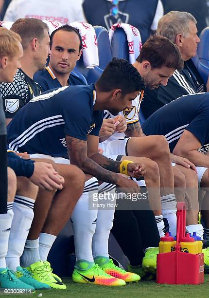 Landon Donovan waits on the bench during his first game back from retirement against the Orlando City FC at StubHub Center on September 11 2016 in...