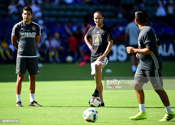 Landon Donovan warms up before his first game back from retirement against the Orlando City FC at StubHub Center on September 11 2016 in Carson...