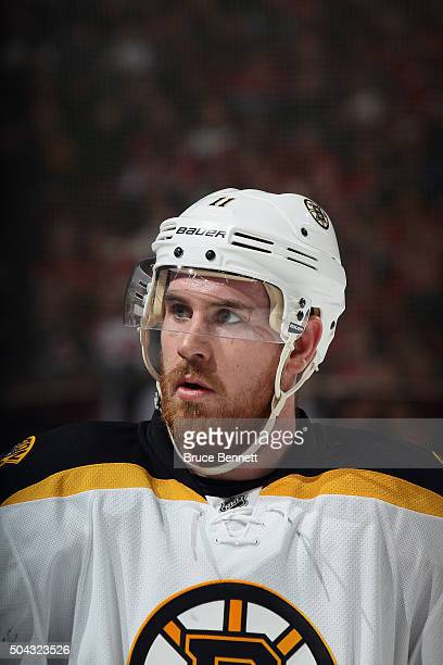 Landon Ferraro of the Boston Bruins skates against the New Jersey Devils at the Prudential Center on January 8 2016 in Newark New Jersey The Bruins...