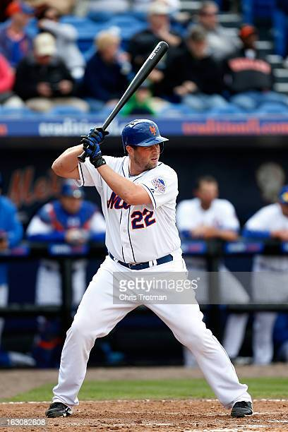 Landon Powell of the New York Mets at bat against the Miami Marlins at Tradition Field on March 2 2013 in Port St Lucie Florida