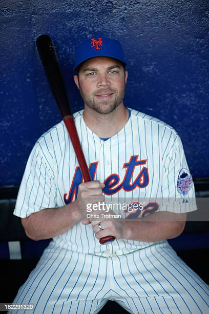 Landon Powell of the New York Mets poses for a photograph during spring training media photo day at Tradition Field on February 21 2013 in Port St...