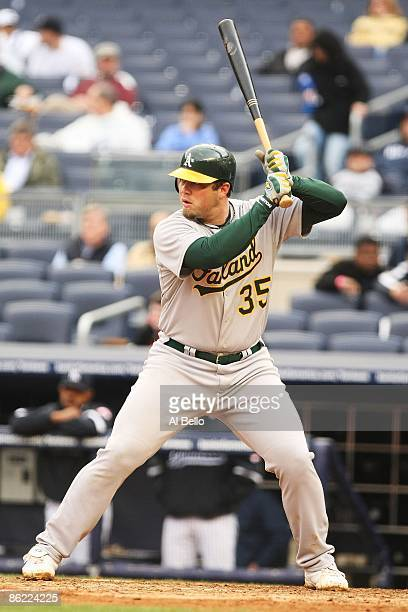Landon Powell of The Oakland Athletics in action against The New York Yankees during their game on April 22 2009 at Yankee Stadium in the Bronx...