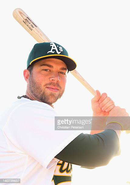 Landon Powell of the Oakland Athletics poses for a portrait during spring training photo day at Phoenix Municipal Stadium on February 27 2012 in...