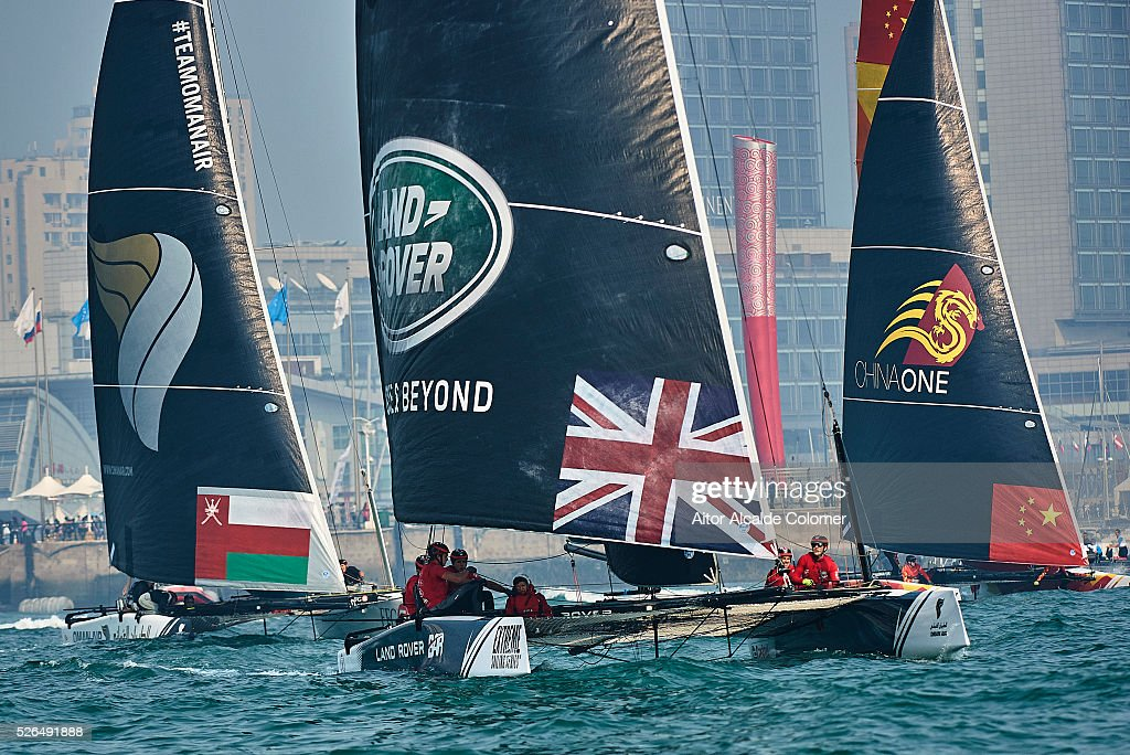 Landrover BAR Academy foiling catamaran skippered Bleddyn Mon (GBR), Helm Leigh McMillan (GBR), (GBR), Bowman Neil Hunter (GBR) and Adam Kay (GBR) racing during the Extreme Sailing Series Qingdao 2016 on April 30, 2016 in Qingdao, China.