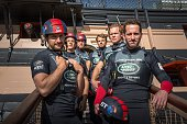 LandRover BAR British America's Cup team skippered by Ben Ainslie with team mates Paul CampbellJames Ed Powys Matt Cornwell Nick Hutton and Freddie...
