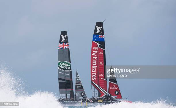 LandRover BAR skippered by Ben Ainslie races against Emirates Team New Zealand skippered by Peter Burling during the 35th America's Cup Challenger...