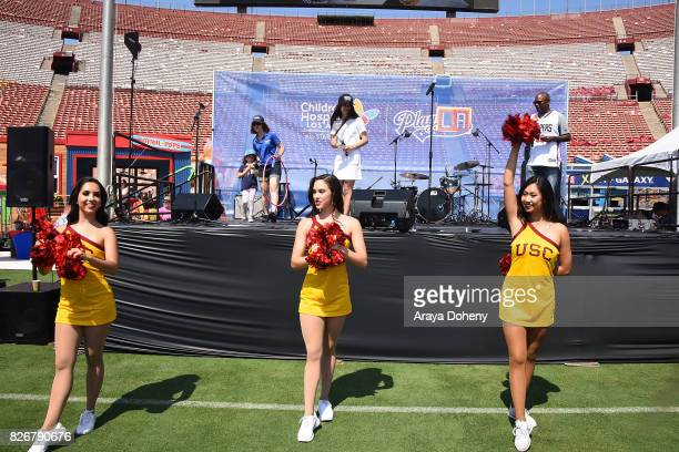 Landry Bender and DJ Dense attend the Children's Hospital Los Angeles Inaugural Play LA Fundraiser at The LA Coliseum on August 5 2017 in Los Angeles...