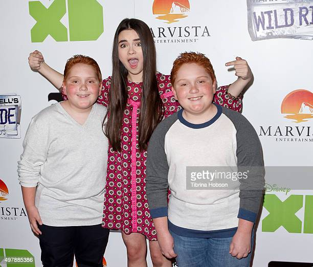Landry Bender and Matthew and Benjamin Royer attend the premiere of Disney XD's original movie 'Mark Russell's Wild Ride' at ArcLight Hollywood on...