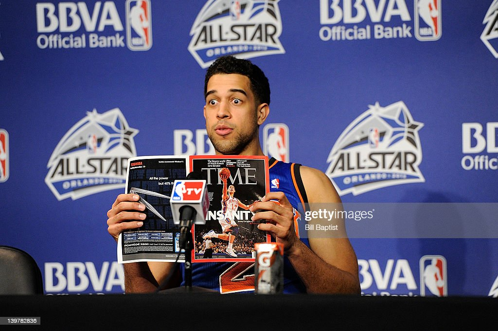 <a gi-track='captionPersonalityLinkClicked' href=/galleries/search?phrase=Landry+Fields&family=editorial&specificpeople=4184645 ng-click='$event.stopPropagation()'>Landry Fields</a> #2 of Team Shaq fields questions during a press conference following the BBVA Rising Stars Challenge as part of 2012 All-Star Weekend at the Amway Center on February 24, 2012 in Orlando, Florida.