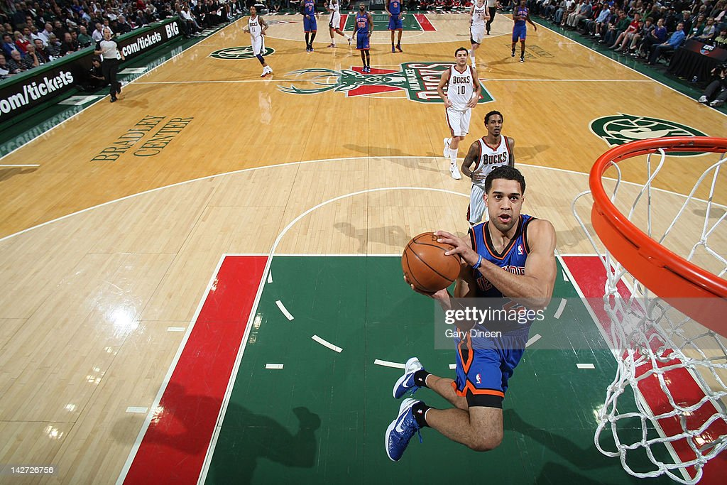 <a gi-track='captionPersonalityLinkClicked' href=/galleries/search?phrase=Landry+Fields&family=editorial&specificpeople=4184645 ng-click='$event.stopPropagation()'>Landry Fields</a> #2 of the New York Knicks dunks against the Milwaukee Bucks on April 11, 2012 at the Bradley Center in Milwaukee, Wisconsin.