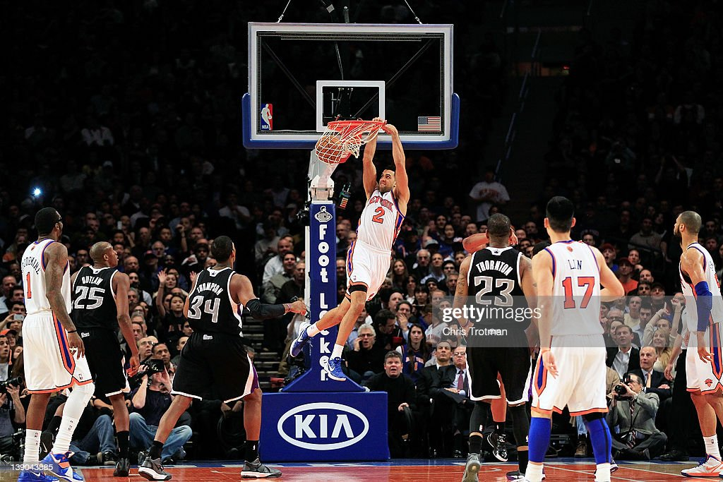<a gi-track='captionPersonalityLinkClicked' href=/galleries/search?phrase=Landry+Fields&family=editorial&specificpeople=4184645 ng-click='$event.stopPropagation()'>Landry Fields</a> #2 of the New York Knicks dunks the ball against the Sacramento Kings at Madison Square Garden on February 15, 2012 in New York City.