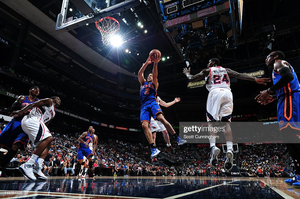 <a gi-track='captionPersonalityLinkClicked' href=/galleries/search?phrase=Landry+Fields&family=editorial&specificpeople=4184645 ng-click='$event.stopPropagation()'>Landry Fields</a> #2 of the New York Knicks goes to the basket against the Atlanta Hawks on April 22, 2012 at Philips Arena in Atlanta, Georgia.
