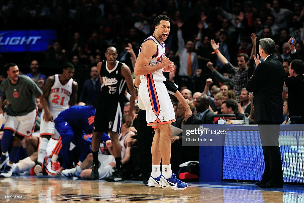 <a gi-track='captionPersonalityLinkClicked' href=/galleries/search?phrase=Landry+Fields&family=editorial&specificpeople=4184645 ng-click='$event.stopPropagation()'>Landry Fields</a> #2 of the New York Knicks reacts after a three point shot from his teammate Steve Novak #16 of the New York Knicks against the Sacramento Kings at Madison Square Garden on February 15, 2012 in New York City.