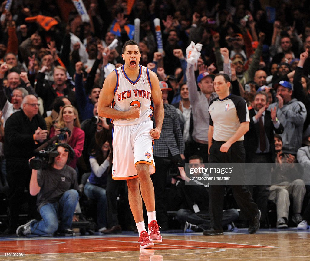 <a gi-track='captionPersonalityLinkClicked' href=/galleries/search?phrase=Landry+Fields&family=editorial&specificpeople=4184645 ng-click='$event.stopPropagation()'>Landry Fields</a> #2 of the New York Knicks reacts after defeating the Boston Celtics at Madison Square Garden on December 25, 2011 in New York City.