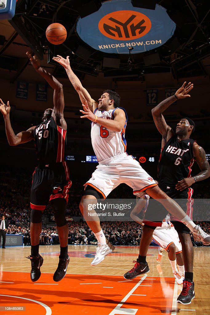 <a gi-track='captionPersonalityLinkClicked' href=/galleries/search?phrase=Landry+Fields&family=editorial&specificpeople=4184645 ng-click='$event.stopPropagation()'>Landry Fields</a> #6 of the New York Knicks shoots against <a gi-track='captionPersonalityLinkClicked' href=/galleries/search?phrase=Joel+Anthony&family=editorial&specificpeople=4092295 ng-click='$event.stopPropagation()'>Joel Anthony</a> #50 of the Miami Heat during a game on January 27, 2011 at Madison Square Garden in New York City.