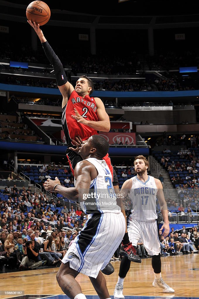 Landry Fields #2 of the Toronto Raptors attempts an easy layup against the Orlando Magic during the game on December 29, 2012 at Amway Center in Orlando, Florida.