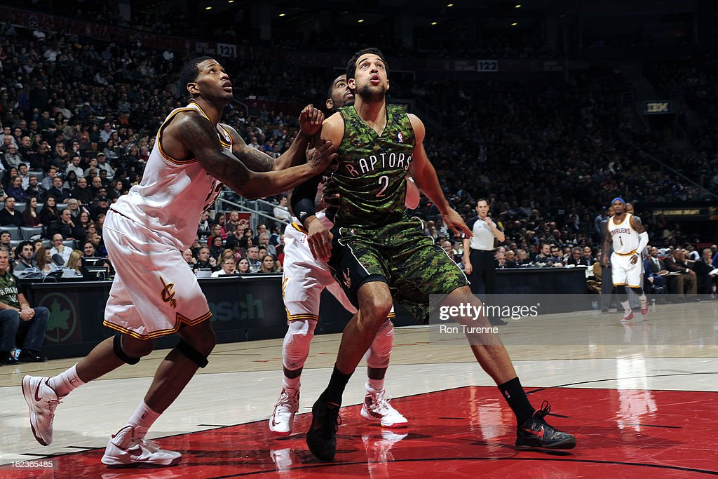 <a gi-track='captionPersonalityLinkClicked' href=/galleries/search?phrase=Landry+Fields&family=editorial&specificpeople=4184645 ng-click='$event.stopPropagation()'>Landry Fields</a> #2 of the Toronto Raptors awaits a rebound against the Cleveland Cavaliers on January 26, 2013 at the Air Canada Centre in Toronto, Ontario, Canada.