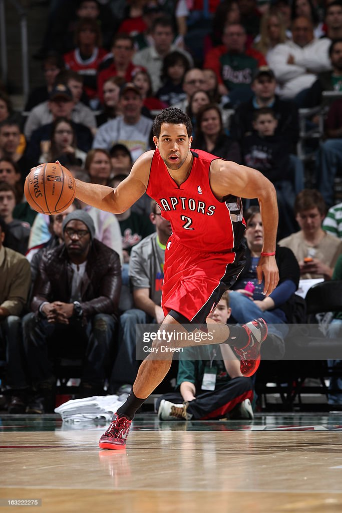 <a gi-track='captionPersonalityLinkClicked' href=/galleries/search?phrase=Landry+Fields&family=editorial&specificpeople=4184645 ng-click='$event.stopPropagation()'>Landry Fields</a> #2 of the Toronto Raptors brings the ball up court against the Milwaukee Bucks on March 2, 2013 at the BMO Harris Bradley Center in Milwaukee, Wisconsin.