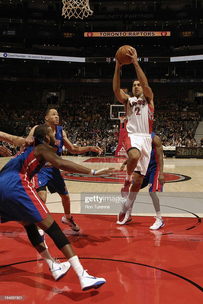 <a gi-track='captionPersonalityLinkClicked' href=/galleries/search?phrase=Landry+Fields&family=editorial&specificpeople=4184645 ng-click='$event.stopPropagation()'>Landry Fields</a> #2 of the Toronto Raptors drives to the basket against the Detroit Pistons on October 12, 2012 at the Air Canada Centre in Toronto, Ontario, Canada.