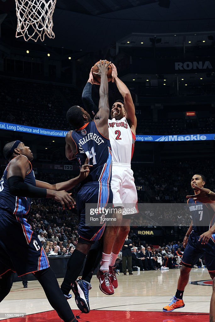 Landry Fields #2 of the Toronto Raptors drives to the basket against the Charlotte Bobcats on January 11, 2013 at the Air Canada Centre in Toronto, Ontario, Canada.
