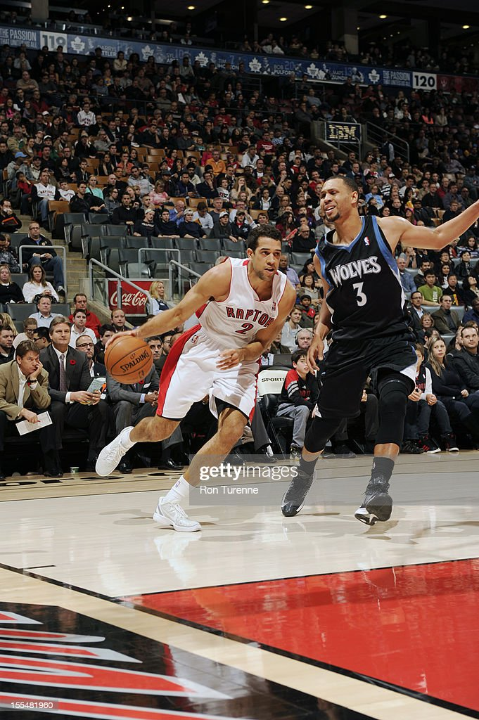 Landry Fields #2 of the Toronto Raptors drives to the hoop vs Brandon Roy #3 of Minnesota Timberwolves during the game on November 4, 2012 at the Air Canada Centre in Toronto, Ontario, Canada.