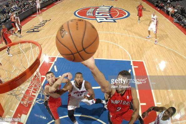 Landry Fields of the Toronto Raptors goes to the basket during the game between the Detroit Pistons and the Toronto Raptors on October 10 2012 at The...