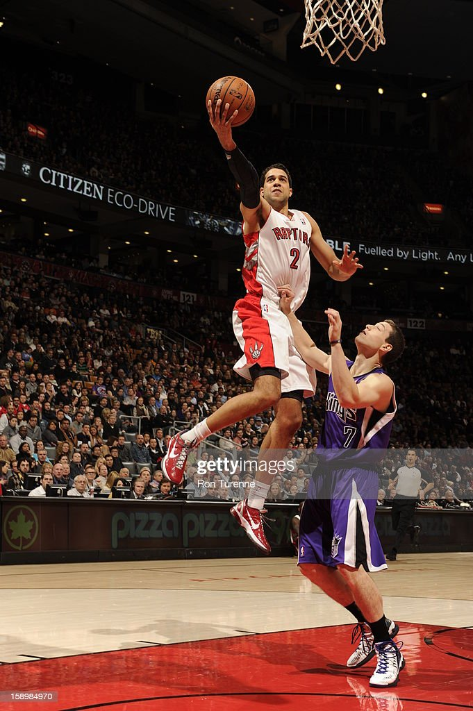 Landry Fields #2 of the Toronto Raptors goes up for the layup against the Sacramento Kings during the game on January 4, 2013 at the Air Canada Centre in Toronto, Ontario, Canada.