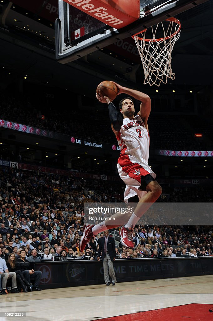 Landry Fields #2 of the Toronto Raptors goes up for the loan dunk against the Philadelphia 76ers during the game on January 9, 2013 at the Air Canada Centre in Toronto, Ontario, Canada.