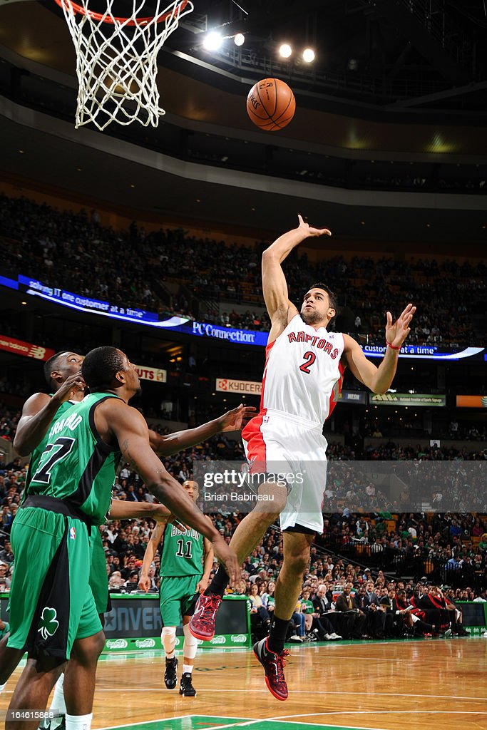 Landry Fields #2 of the Toronto Raptors puts up a shot against the Boston Celtics on March 13, 2013 at the TD Garden in Boston, Massachusetts.