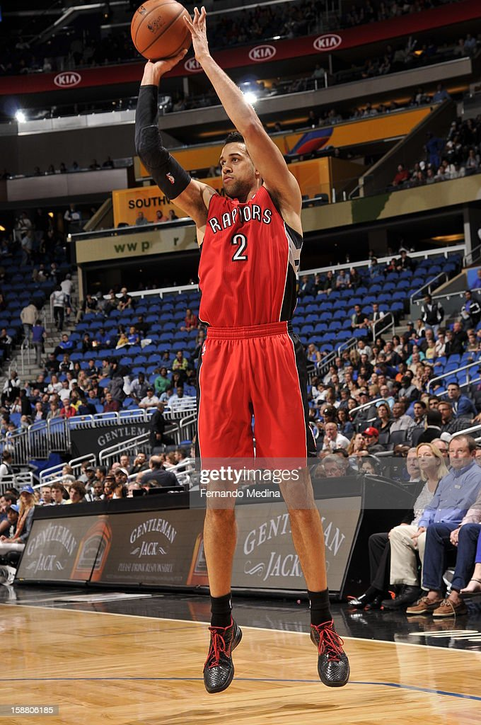 Landry Fields #2 of the Toronto Raptors shoots a mid-range shot against the Orlando Magic during the game on December 29, 2012 at Amway Center in Orlando, Florida.