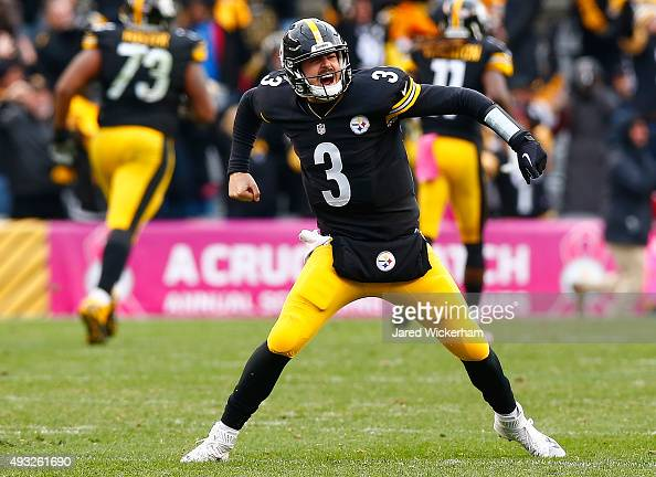 Landry Jones of the Pittsburgh Steelers celebrates a 4th quarter touchdown pass during the game against the Arizona Cardinals at Heinz Field on...