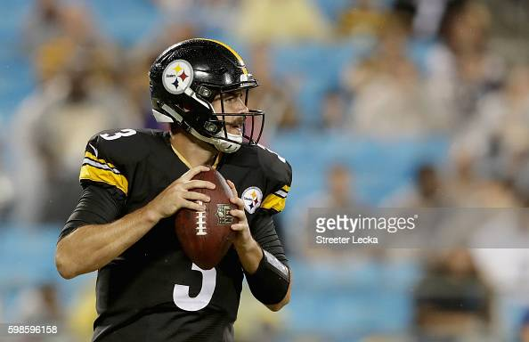 Landry Jones of the Pittsburgh Steelers drops back to pass against the Carolina Panthers in the 1st quarter during their game at Bank of America...