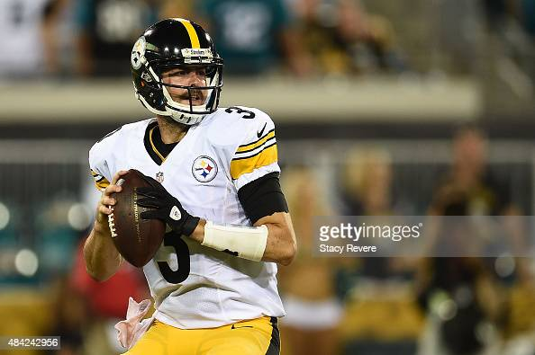 Landry Jones of the Pittsburgh Steelers drops back to pass during a preseason game against the Jacksonville Jaguars at EverBank Field on August 14...