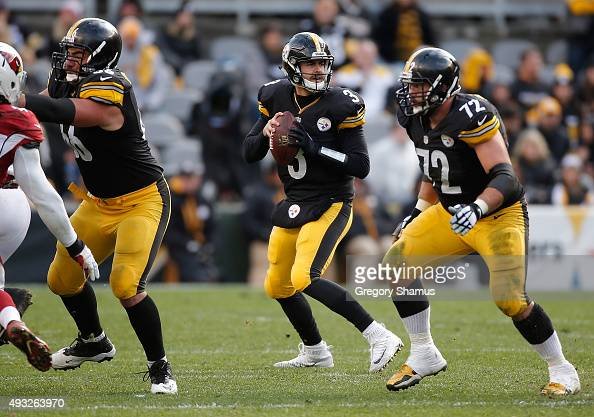 Landry Jones of the Pittsburgh Steelers drops back to pass during the game against the Arizona Cardinals at Heinz Field on October 18 2015 in...