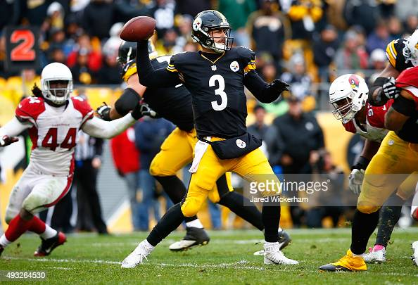 Landry Jones of the Pittsburgh Steelers drops back to pass in the second half during the game against the Arizona Cardinals at Heinz Field on October...