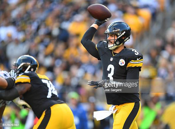 Landry Jones of the Pittsburgh Steelers drops back to pass in the first quarter during the game against the New England Patriots at Heinz Field on...