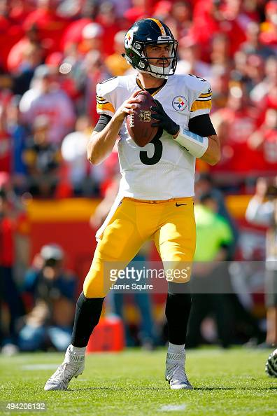 Landry Jones of the Pittsburgh Steelers drops back to throw a pass against the Kansas City Chiefs at Arrowhead Stadium during the game on October 25...