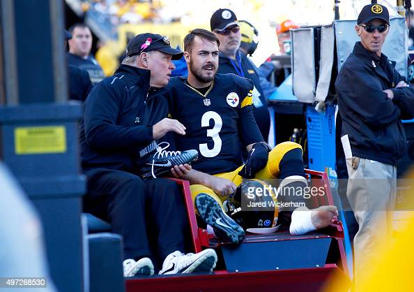 Landry Jones of the Pittsburgh Steelers is carted off of the field after sustaining an injury during the 1st quarter of the game against the...