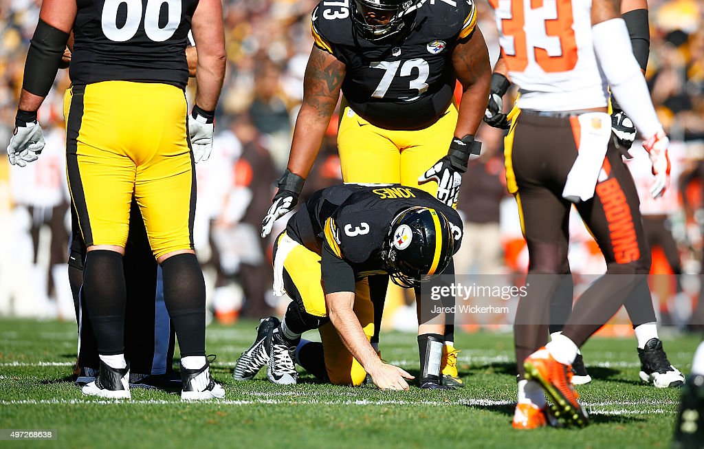<a gi-track='captionPersonalityLinkClicked' href=/galleries/search?phrase=Landry+Jones&family=editorial&specificpeople=5572476 ng-click='$event.stopPropagation()'>Landry Jones</a> #3 of the Pittsburgh Steelers is injured during the1st quarter of the game against the Cleveland Browns at Heinz Field on November 15, 2015 in Pittsburgh, Pennsylvania.