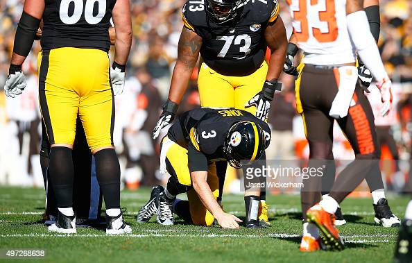 Landry Jones of the Pittsburgh Steelers is injured during the1st quarter of the game against the Cleveland Browns at Heinz Field on November 15 2015...