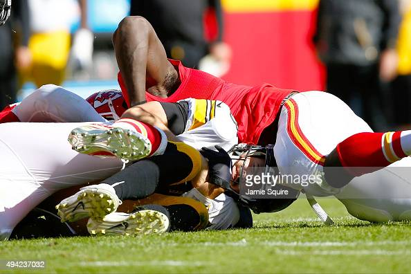 Landry Jones of the Pittsburgh Steelers is sacked at Arrowhead Stadium during the fourth quarter of the game against the Kansas City Chiefs on...