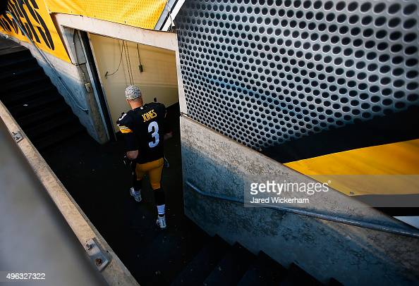 Landry Jones of the Pittsburgh Steelers leaves the field after the game against the Oakland Raiders at Heinz Field on November 8 2015 in Pittsburgh...