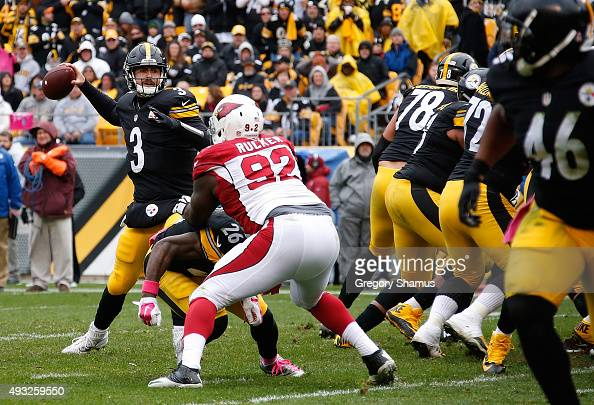 Landry Jones of the Pittsburgh Steelers looks to pass during the 3rd quarter of the game agaisnt the Arizona Cardinals at Heinz Field on October 18...