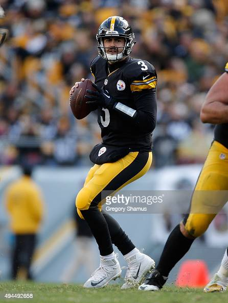 Landry Jones of the Pittsburgh Steelers looks to pass during the game agaisnt the Arizona Cardinals at Heinz Field on October 18 2015 in Pittsburgh...