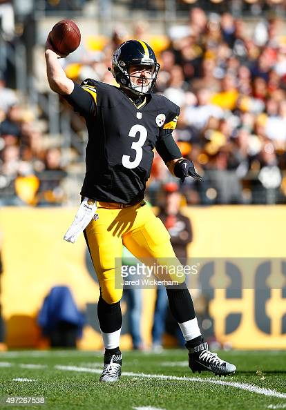 Landry Jones of the Pittsburgh Steelers looks to pass during the game against the Cleveland Browns at Heinz Field on November 15 2015 in Pittsburgh...