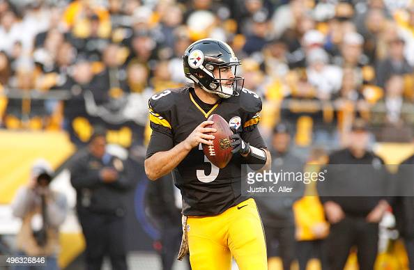 Landry Jones of the Pittsburgh Steelers looks to pass in the 4th quarter of the game against the Oakland Raiders at Heinz Field on November 8 2015 in...
