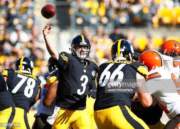 Landry Jones of the Pittsburgh Steelers passes in the 1st quarter of the game against the Cleveland Browns at Heinz Field on November 15 2015 in...