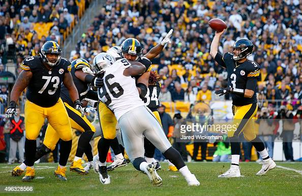 Landry Jones of the Pittsburgh Steelers passes in the 4th quarter of the game against the Oakland Raiders at Heinz Field on November 8 2015 in...